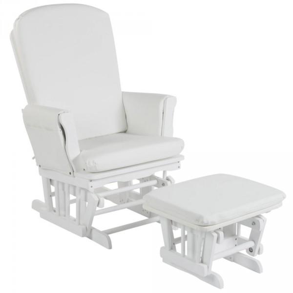 Quax Stillstuhl Schaukelgleiter mit Hocker Holz weiß
