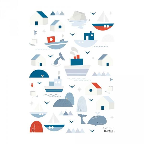 Lilipinso Wandsticker A3 Schiffe Häuser und Wale grau blau rot