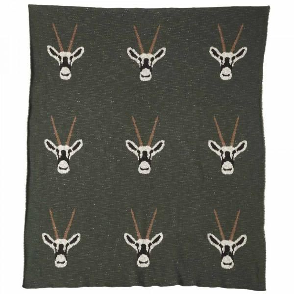 Quax Kuscheldecke Feinstrick Antilopen khaki 80 x 100
