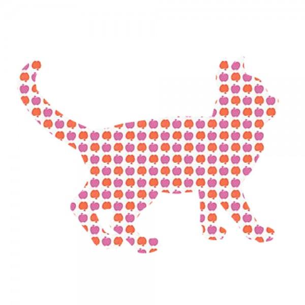 Inke Tapetentier Katze Apfelmuster lila orange