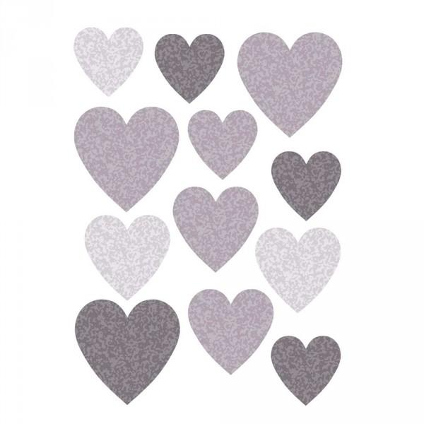 Buokids Wandsticker Herzen grau
