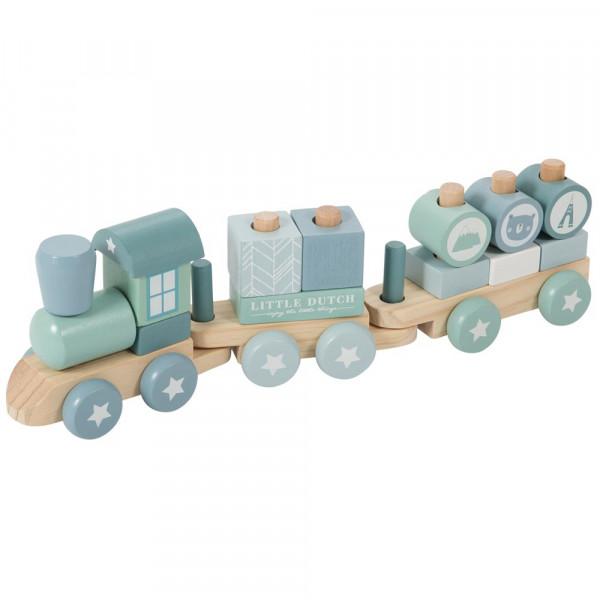 Little Dutch Holzeisenbahn mit Steckklötzen blau