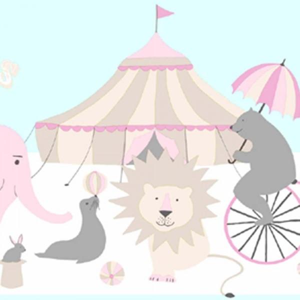 Rasch Textil Everybody Bonjour Bordüre Zirkus rosa mint