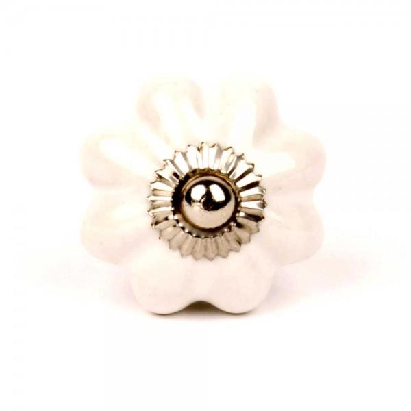 Knaufmanufaktur Möbelknopf Blume uni weiß