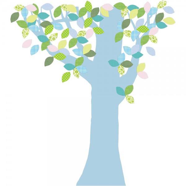 Inke Tapetenbaum 1 Stamm hellblau Blätter grün blau rosa