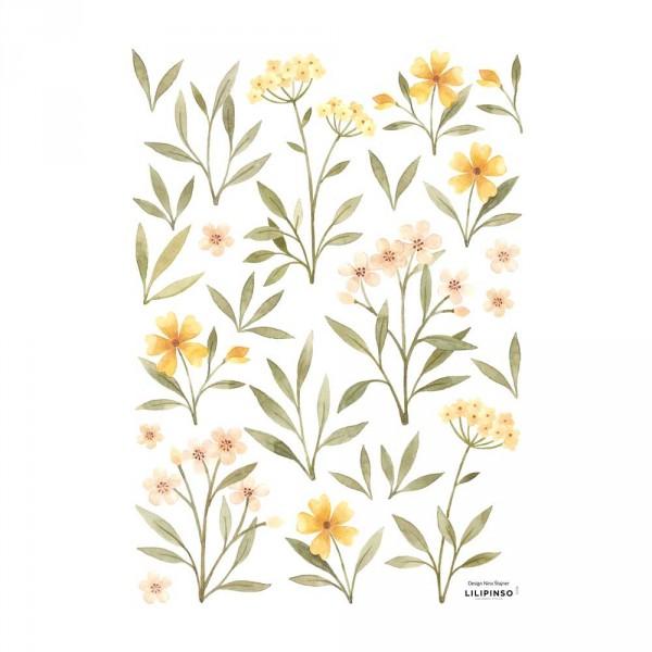 Lilipinso Wandsticker A3 Blüten und Blätter grün rosa gelb