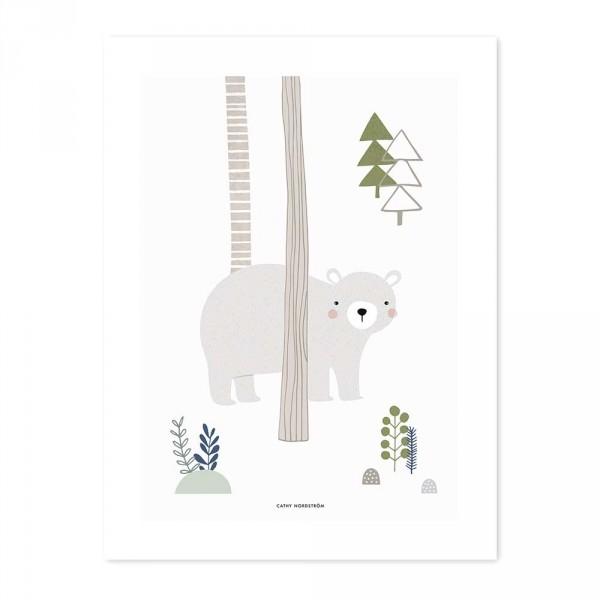 Lilipinso Poster Bär und Bäume grau