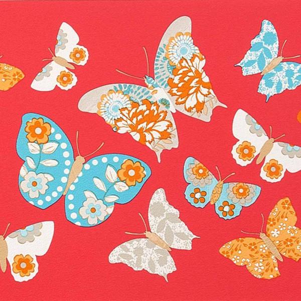 Caselio Girls only Bordüre rot Schmetterlinge