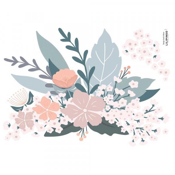 Lilipinso Wandsticker A3 Blumenbouquet rosa taupe grau