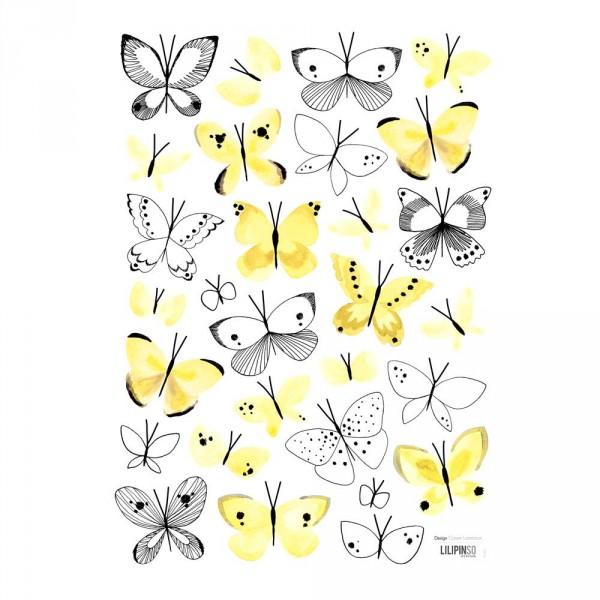Lilipinso Wandsticker A3 Schmetterlinge in gelb schwarz