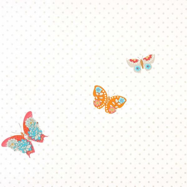 Caselio Girls only Tapete Schmetterlinge türkis orange