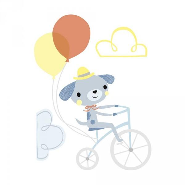 Lilipinso Wandsticker XL Hund auf Fahrrad mit Ballons grau orange gelb
