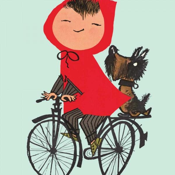 Kek Amsterdam Kinderposter Rotkäppchen auf Fahrrad grün