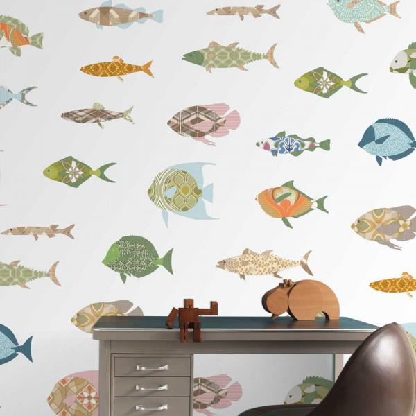 Inke Wandbild Fische weiss