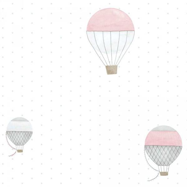 Casadeco My Little World Tapete Heissluftballons braun grau rosa
