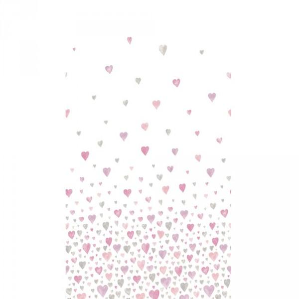 Casadeco Alice & Paul Stoffpaneel Herzen rosa lila grau