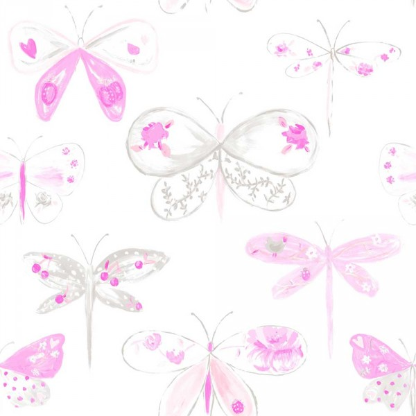 Caselio Ohlala Tapete Libellen rosa pink grau