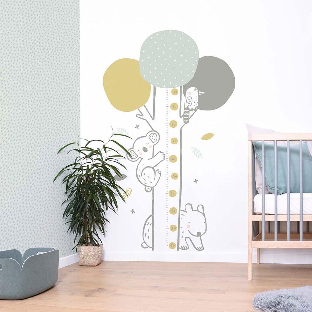 Lilipinso Wandsticker Messlatte Baum mit Koala grün grau