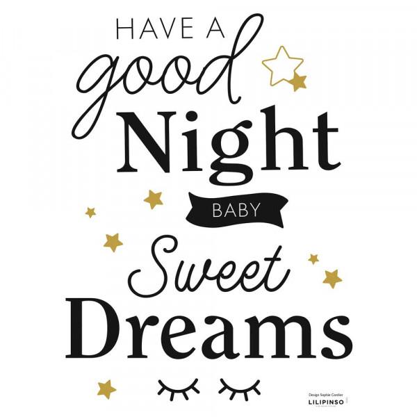 Lilipinso Wandsticker A3 Good Night schwarz gold