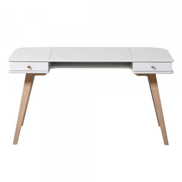 Oliver Furniture Wood Schreibtisch 66 cm Holz weiss/Eiche