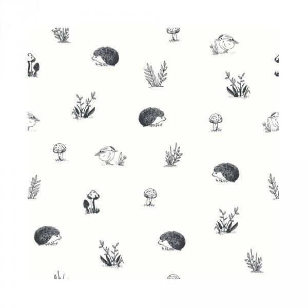 Lilipinso Vlies Tapete Igel mit Vögelchen schwarz