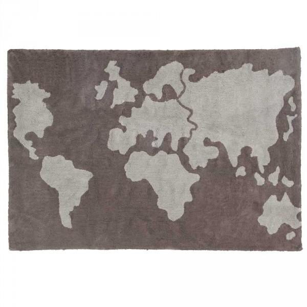 Lorena Canals Teppich Baumwolle Weltkarte grau braun