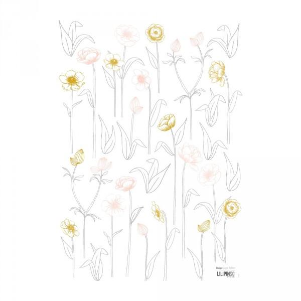 Lilipinso Wandsticker A3 Blüten mit Stiel rosa grau ocker