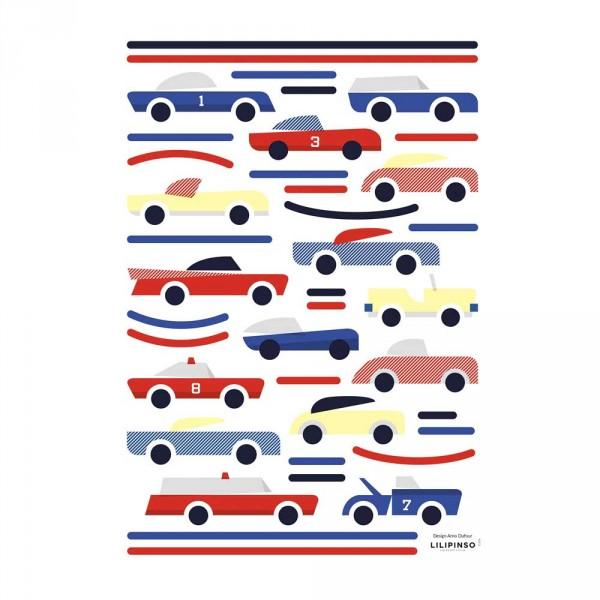 Lilipinso Wandsticker A3 Autos blau rot gelb
