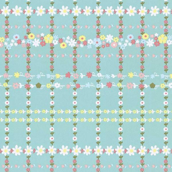 Rice Tapete Blütenkaro grün