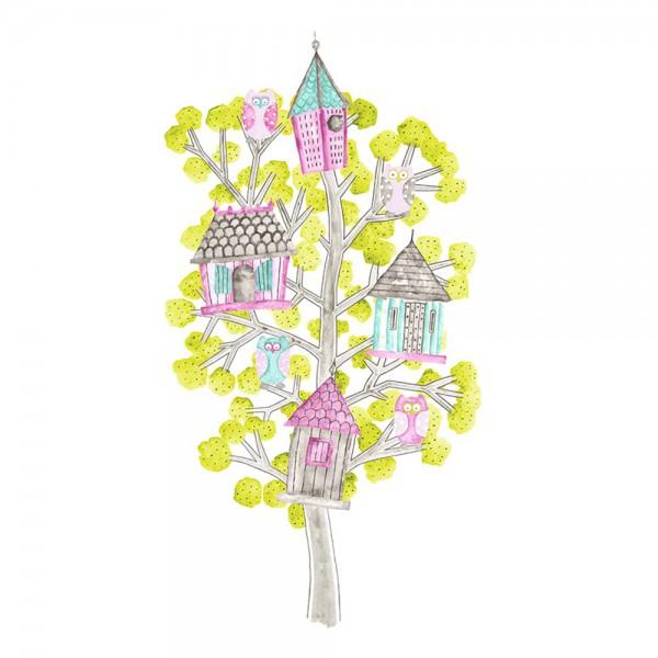 Casadeco Arc En Ciel Wandbild Baumhäuser pink lime