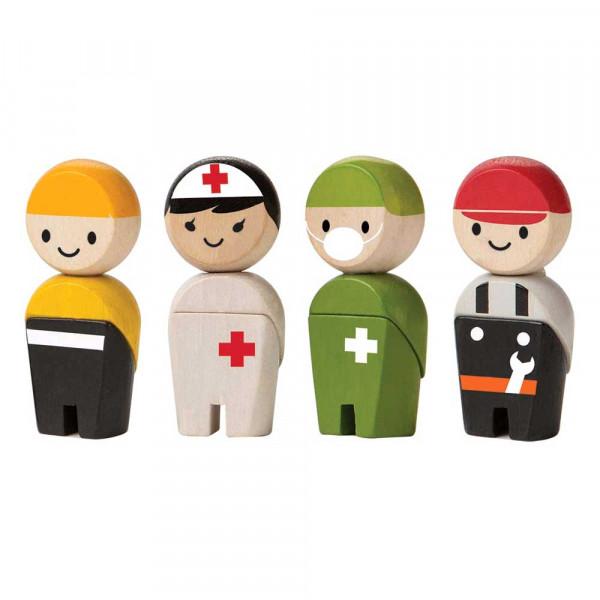 Plan Toys Spielzeug Figuren-Set Rettungshelfer Holz