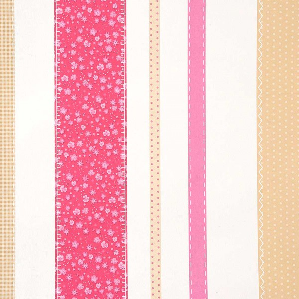 Caselio Girls only Tapete Patchwork Streifen rosa gold