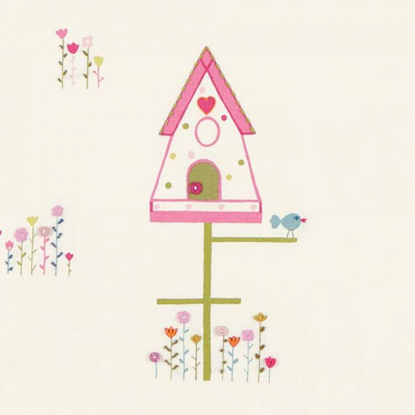 Harlequin all about me Stoff Vogelhaus rosa