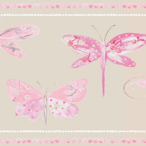 Caselio Ohlala Bordüre Libellen rosa pink