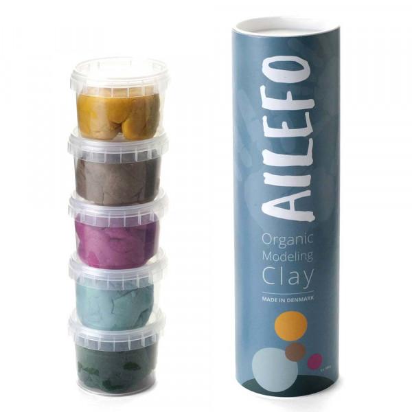 Ailefo Bio Kinderknete 5 er Set Basic Farben klein