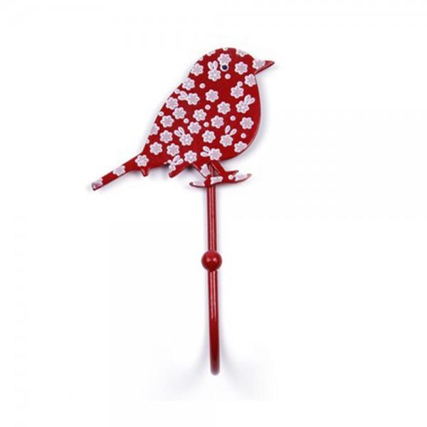 Knaufmanufaktur Kleiderhaken Vogel rot Blümchen