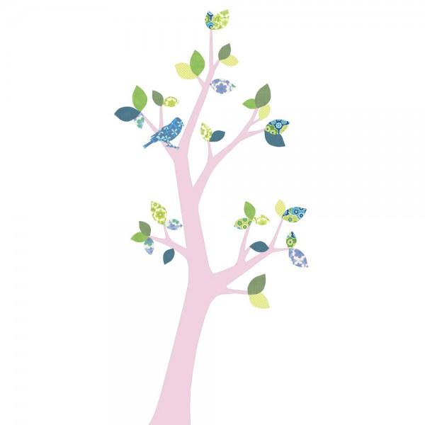 Inke Tapetenbaum 3 Stamm rosa Blätter blau grün