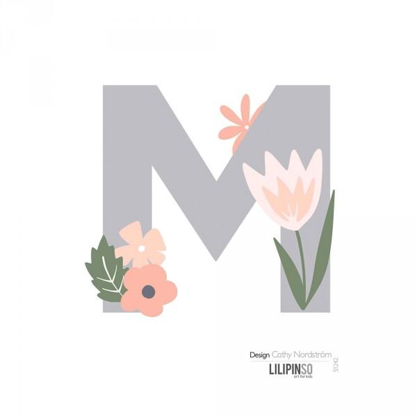 Lilipinso Sticker Buchstabe mit Blüten grau rosa pastell M
