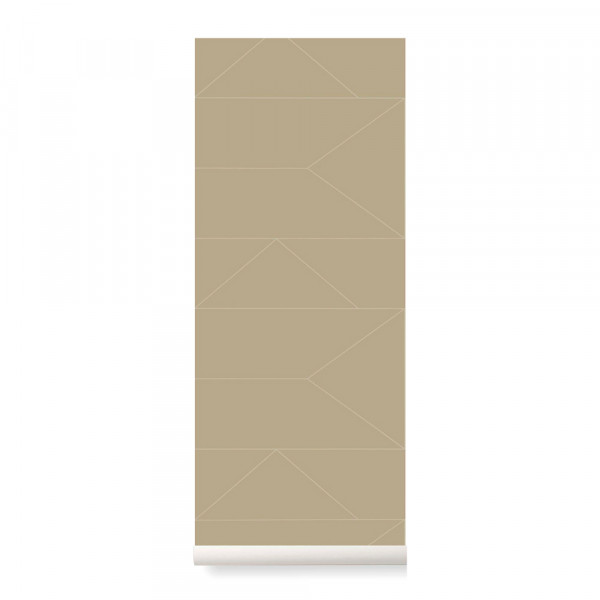 Ferm Living Tapete Lines cashmere mit gold