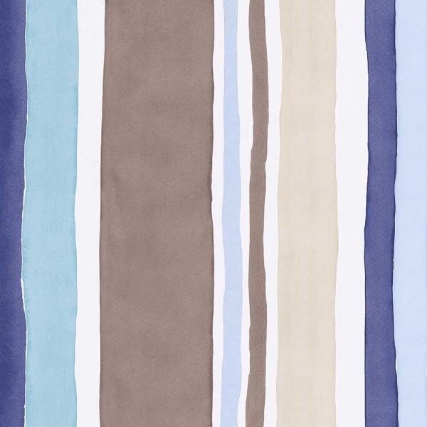Eijffinger Tout Petit Kindertapete Aquarel Streifen blau braun
