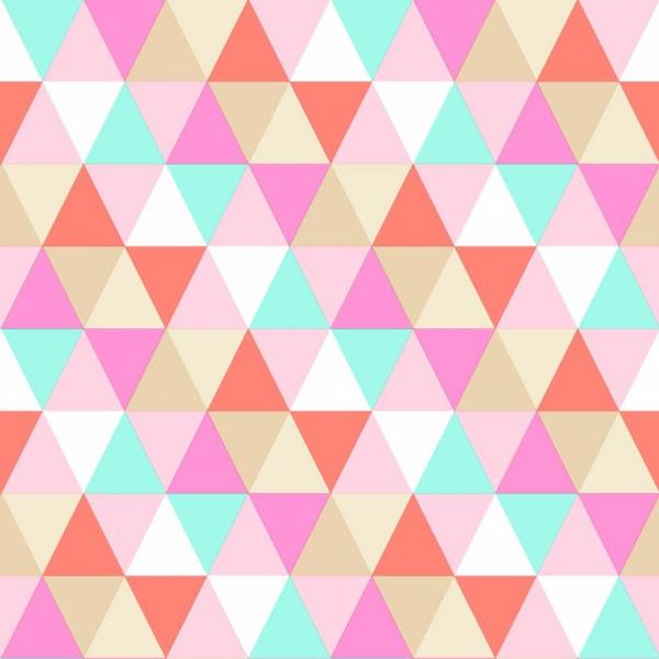 Rasch Textil Everybody Bonjour Tapete Dreiecke orange pink