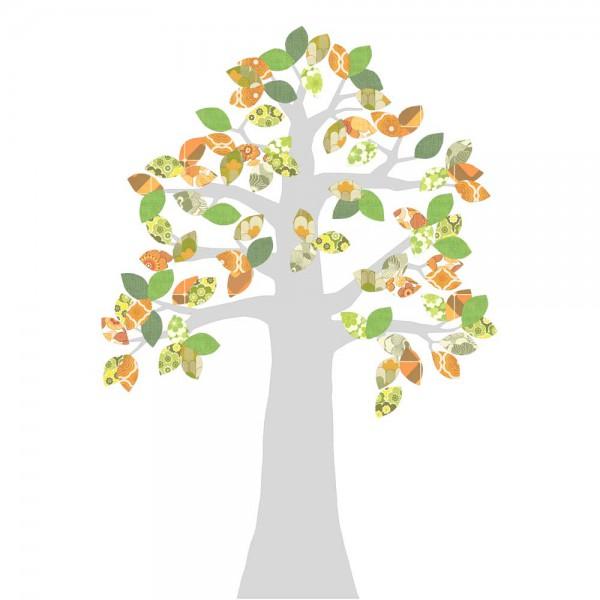 Inke Tapetenbaum 2 Stamm silber Blätter grün orange
