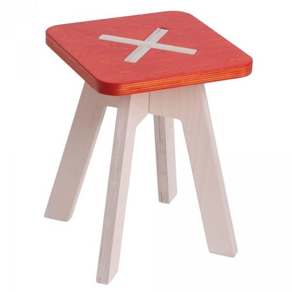 123 OK Kinderhocker eckig Holz rot 30 cm