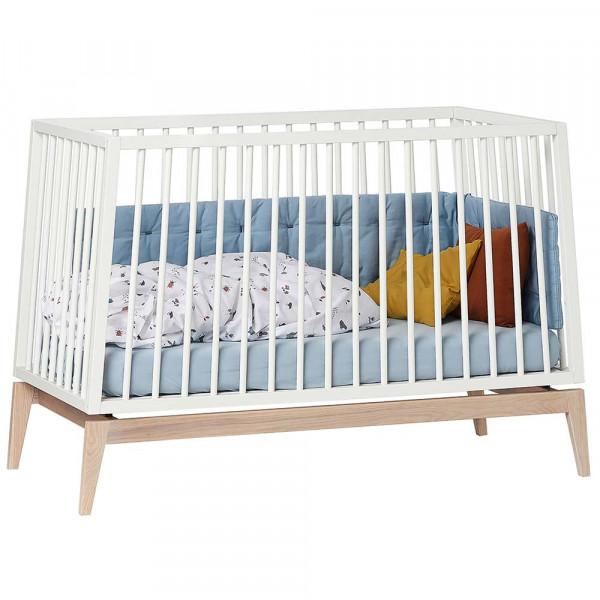 Leander Babybett Luna weiß / Eiche 120x60