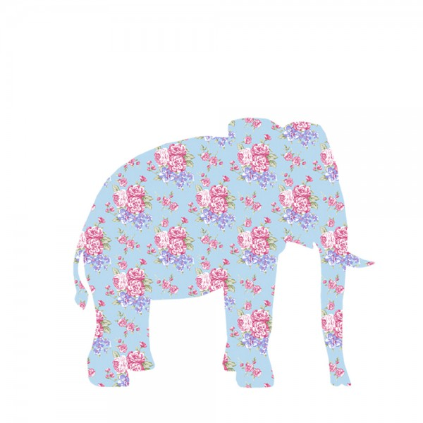 Inke Tapetentier Elefant Rosen hellblau pink
