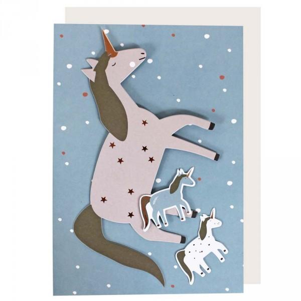 Ava & Yves Postkarte mit Umschlag Einhorn