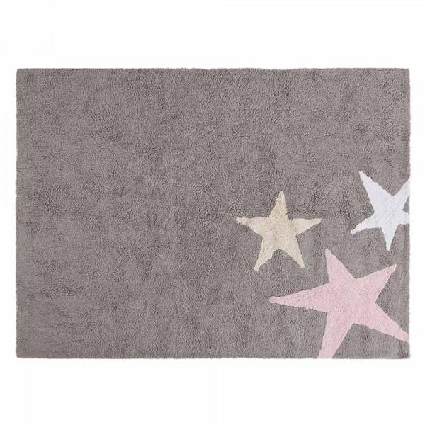 Lorena Canals Teppich 3 Sterne grau rosa