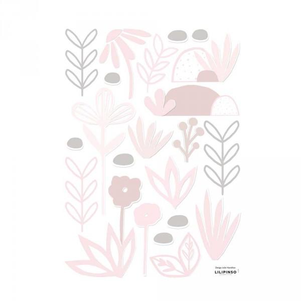 Lilipinso Wandsticker A3 Blumen und Blätter rosa