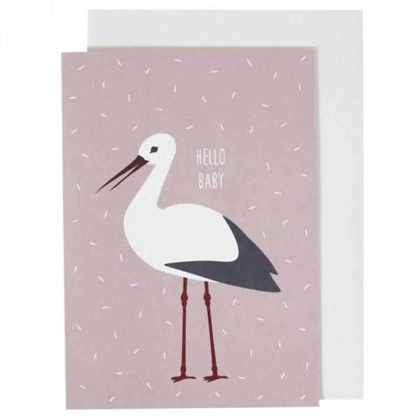 Ava & Yves Glückwunsch Karte zur Geburt Storch rosa
