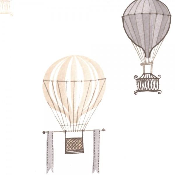 Casadeco Stoff Heissluftballons braun Jules & Julie